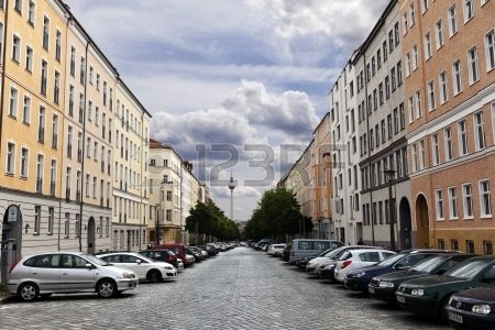 Berlin Germany June 10th 2012 Diminishing perspective view of the blocks of buildings that stretch a Stock Photo