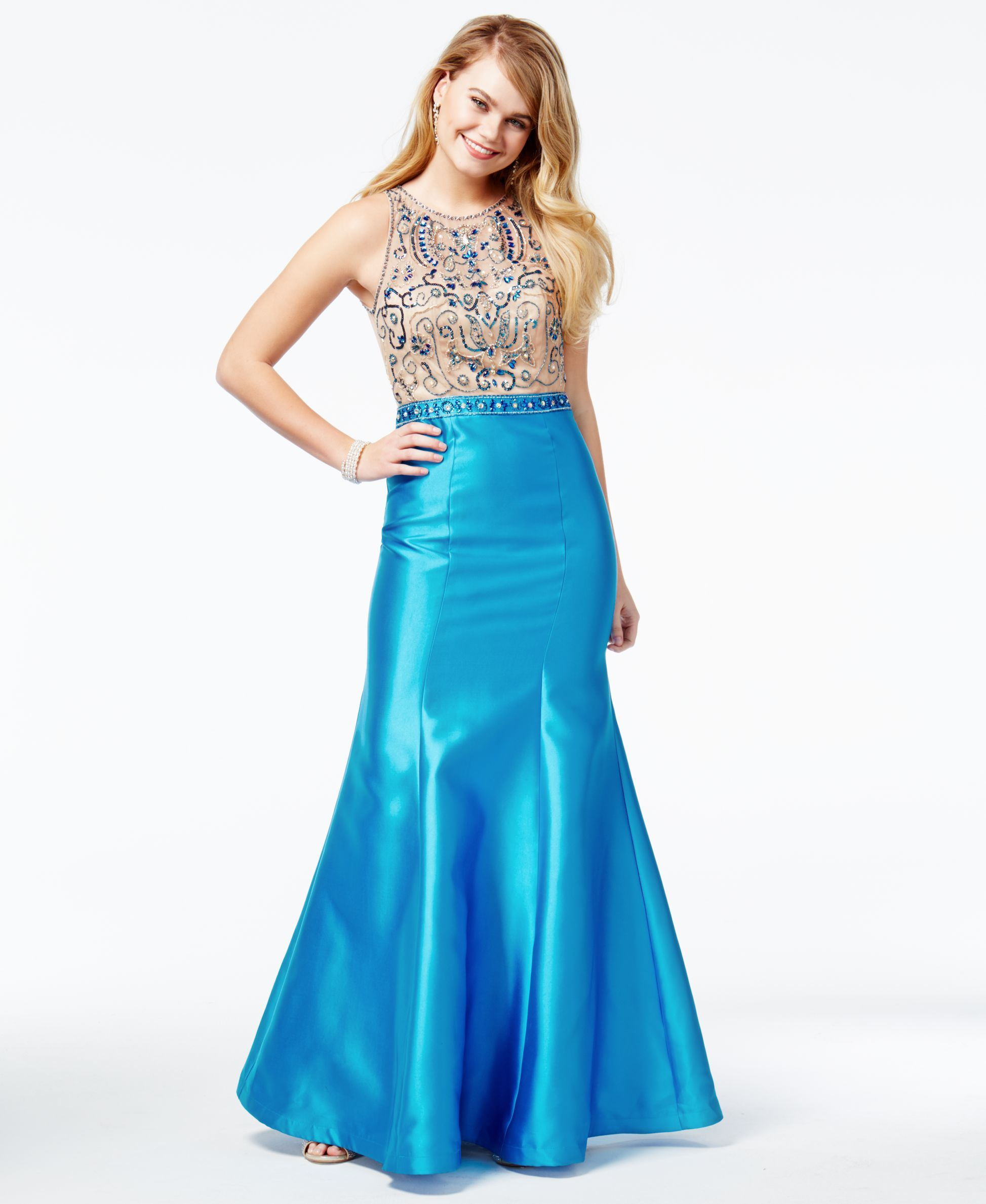 Say Yes to the Prom Juniors\' Beaded Illusion Mermaid Gown, A Macy\'s ...