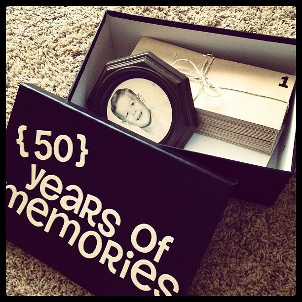 A Box Filled With 50 Years Of Memories See More 50th Birthday Gift Ideas And Party At One Stop