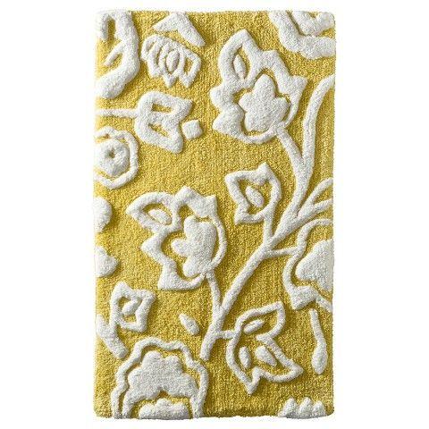 Floral Bath Rug Yellow Threshold Bath Rugs Bath And Spa - Yellow and white bathroom rugs for bathroom decorating ideas