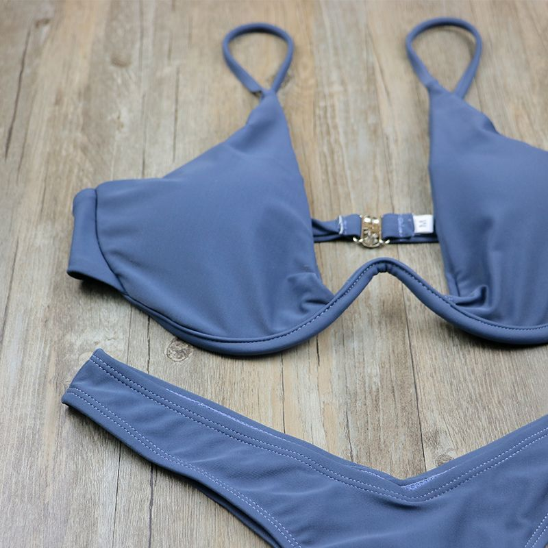 f77e68d74b 2017 New high cut thong bathing suit high waist swimsuit Solid swimwear  women Brazilian Biquini swim
