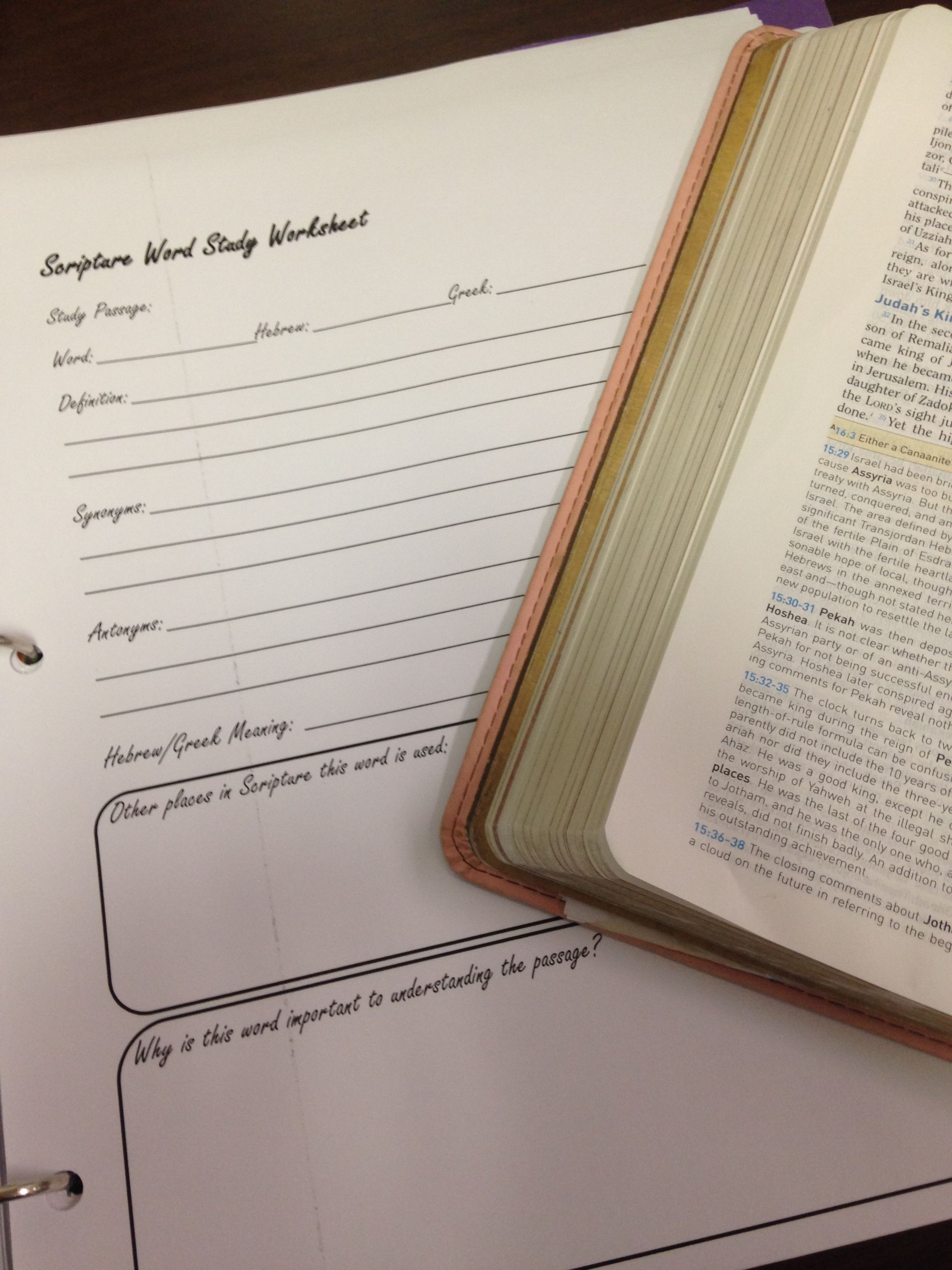 Word Study Sheet Effective Bible Study