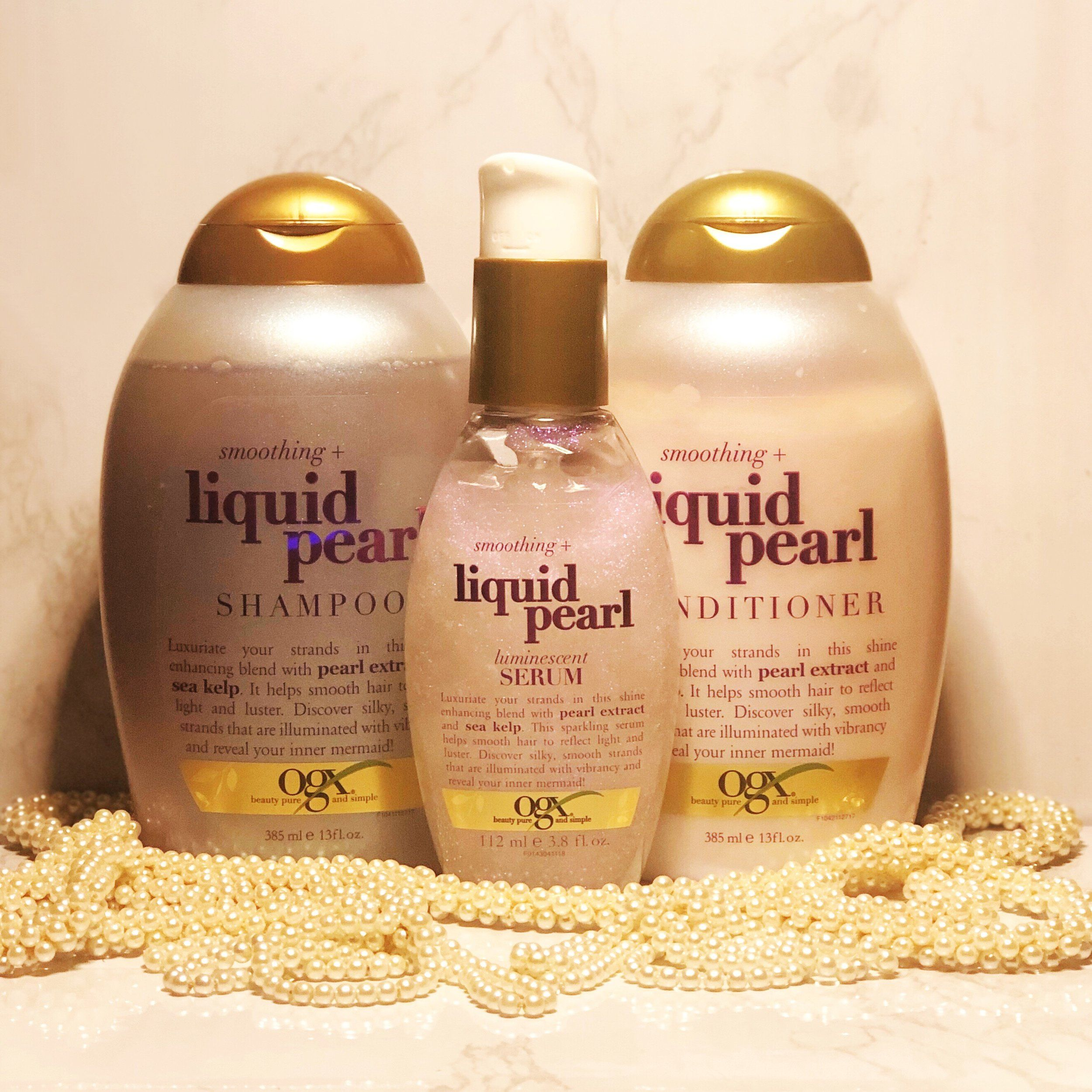 Review of the Newest Release from OGX that will give you Mermaid Tresses all Summer Long the Smoothing Liquid Pearl Collection OGX Liquid Pearl Collection