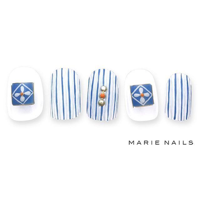 #マリーネイルズ #marienails #ネイルデザイン #かわいい #ネイル #kawaii #kyoto #ジェルネイル#trend #nail #toocute #pretty #nails #ファッション #naildesign #ネイルサロン #beautiful #nailart #tokyo #fashion #ootd #nailist #ネイリスト #ショートネイル #gelnails #instanails #newnail  #夏ネイル #blue #stripes