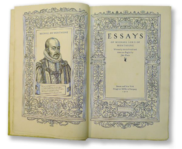the essays of montaigne designed by bruce rogers book  montaigne essays summary the essays of montaigne designed by bruce rogers 1902