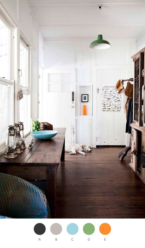 I am in love with orange as an accent color.   A. Tricorn Black (Sherwin-Williams), PMS 447; B. Frappé (Valspar), PMS 401; C. Cloudless (Sherwin-Williams), PMS 2975; D. Putting Green (Valspar), PMS 7490; E. Mango Madness (Behr), PMS 151