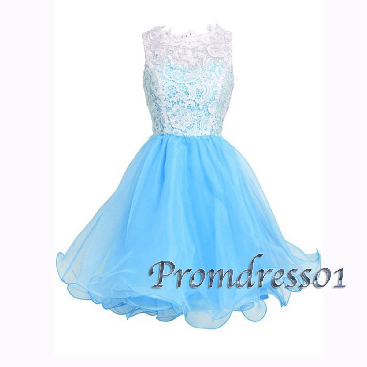 Prom dress short, Ice blue organza sleeveless short party dress for ...