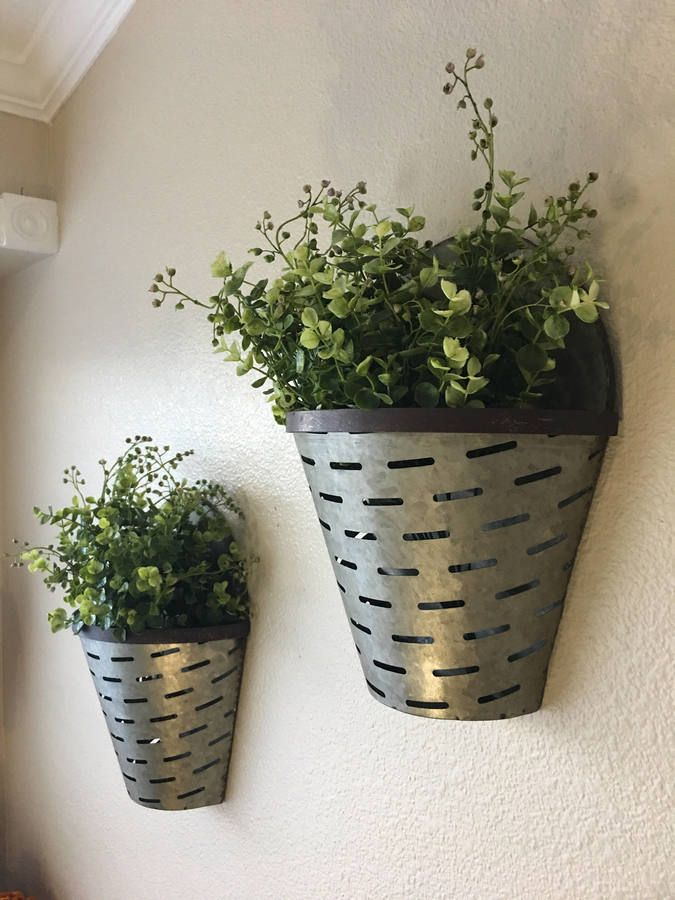Large Olive Bucket Wall Vases Rustic Wall Vase Rustic Wall Decor Farmhouse Wall Vases Olive Bucket Vases With Images Rustic Wall Decor Porch Wall Decor Wall Vase Decor