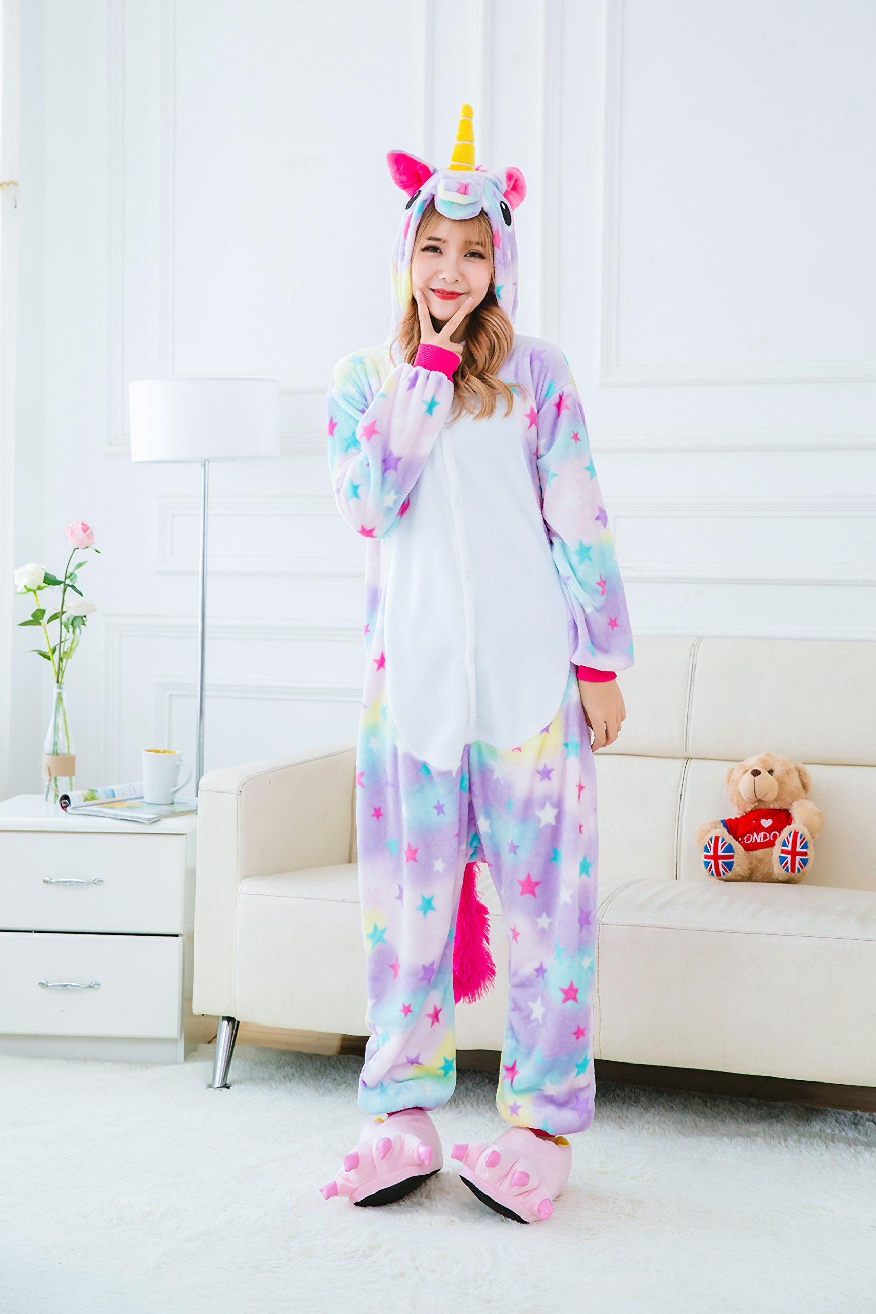 Yutown Adult Unicorn Pajamas Animal Costume Cosplay Onesie Halloween Gift  Star Pegasus XL -- You could locate even more information by visiting the  picture ... 9b859d261