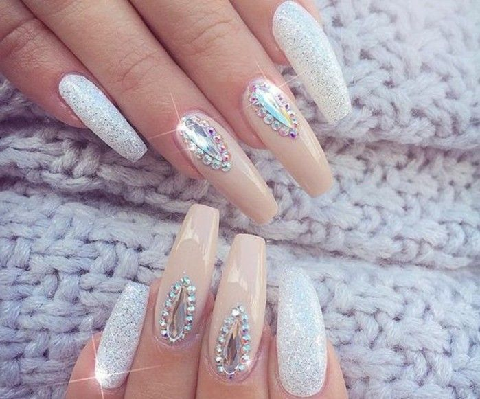 nude nails with rhinestones, eight long square nails, four with ...