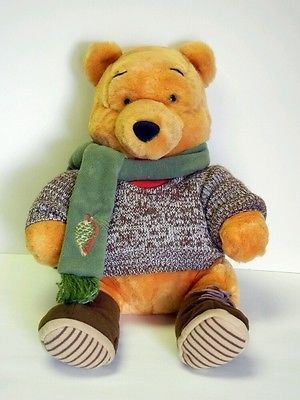 66f773005a51 Disney Store Stuffed Plush Fall Winnie The Pooh Bear Wearing Sweater Scarf  14in