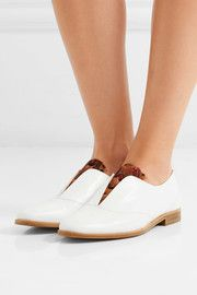 Rupert Sanderson Woman Feather-embellished Leather Slip-on Brogues White Size 39 Rupert Sanderson Clearance Outlet Locations Wiki nbjAu