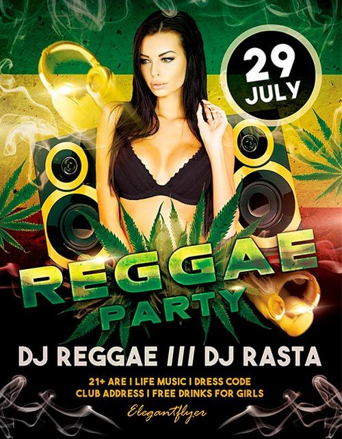 Free Reggae Party PSD Flyer Templateu2026 Free Reggae Party PSD - club flyer maker