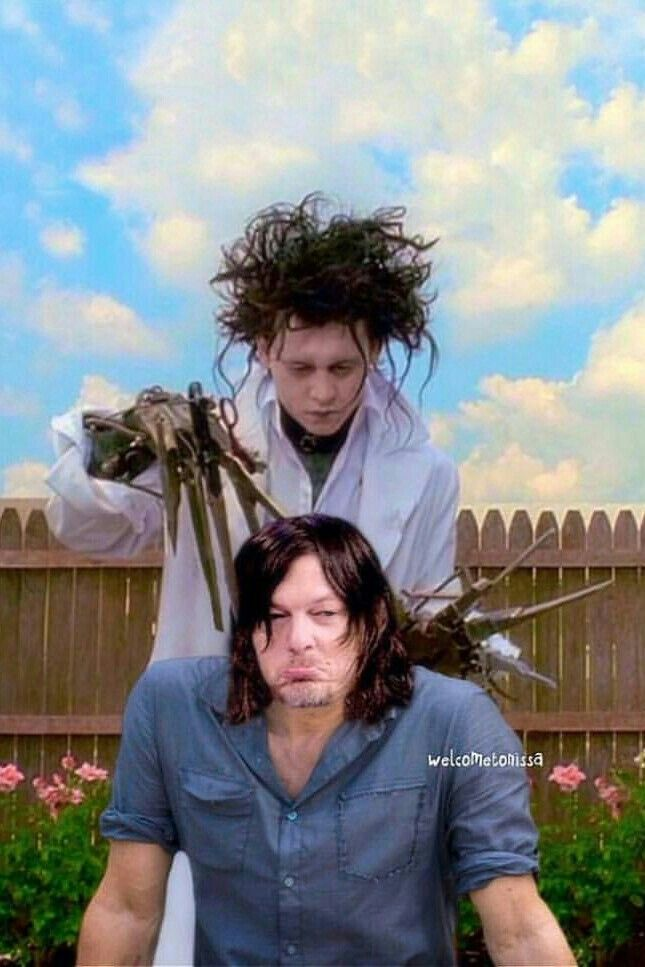 Norman Meets Edward Scissorhands For A Haircut Norman Reedus