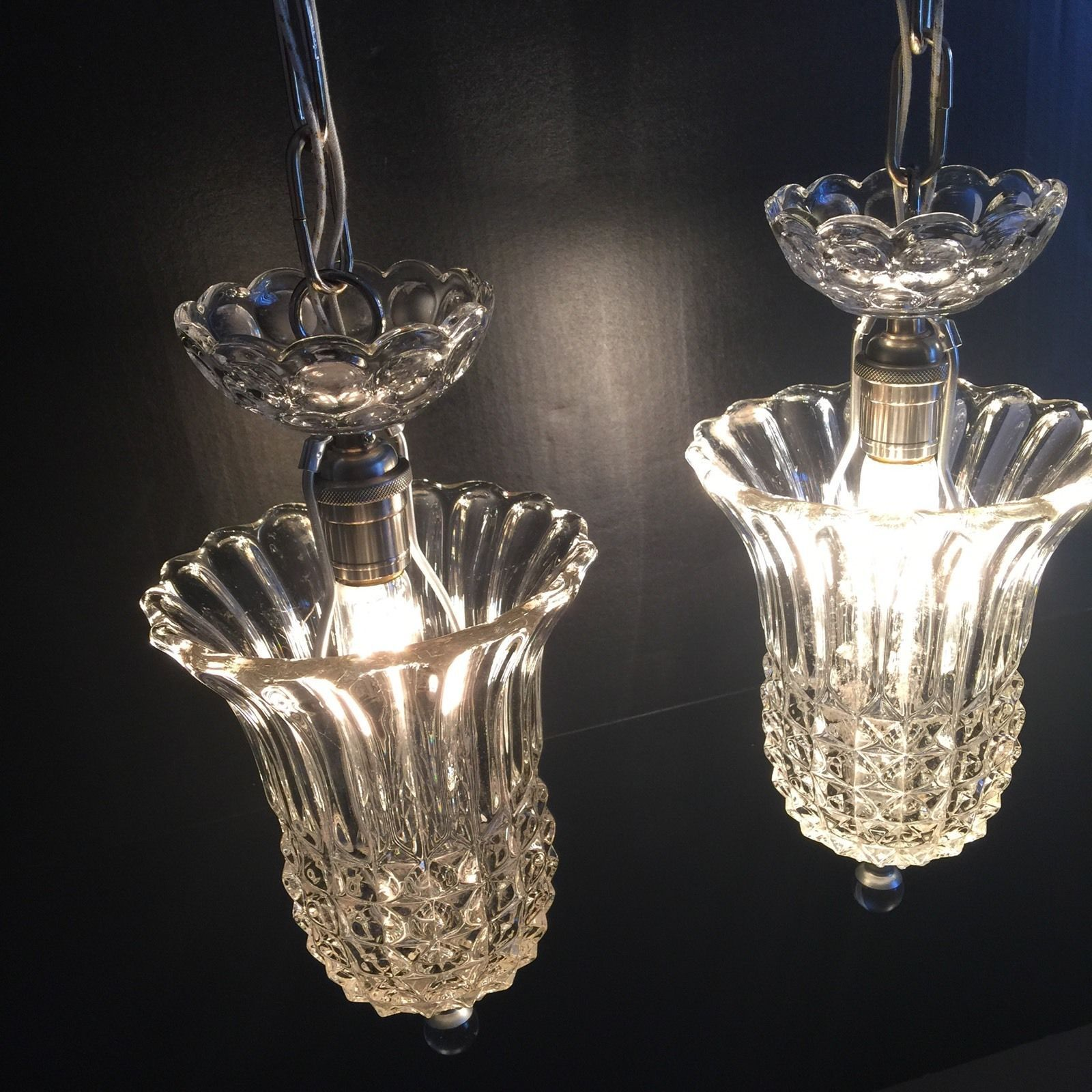 Two 2 1940s heavy glass pendant lights beautiful ebay