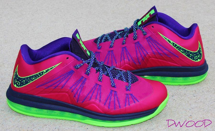 6770beedc0cf Nike LeBron 10 Low - Red Plum - Electric Green - SneakerNews.com ...