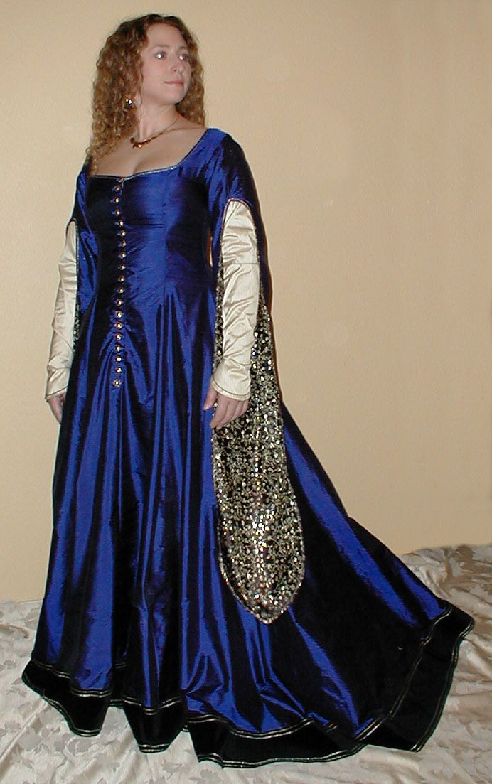 8513497f447 Blue Silk Dupioni Cotehardie with Gold and Black Brocade Lined Sleeves -  hmm wonder if I should this in royal purple?
