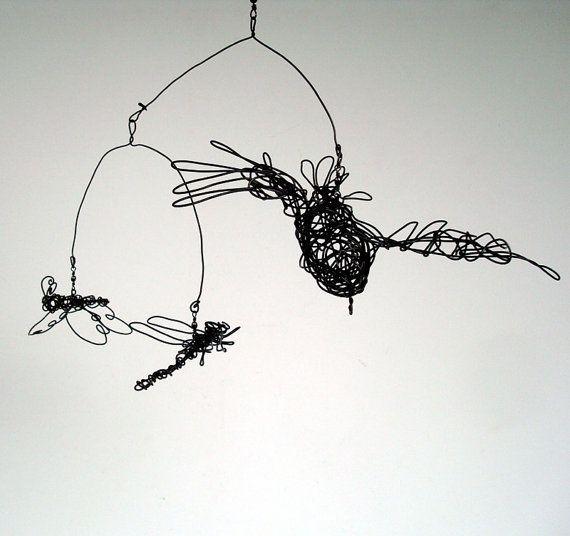 Original Wire Mobile Sculpture  BIRD Dragonfly by wireanimals, $58.00
