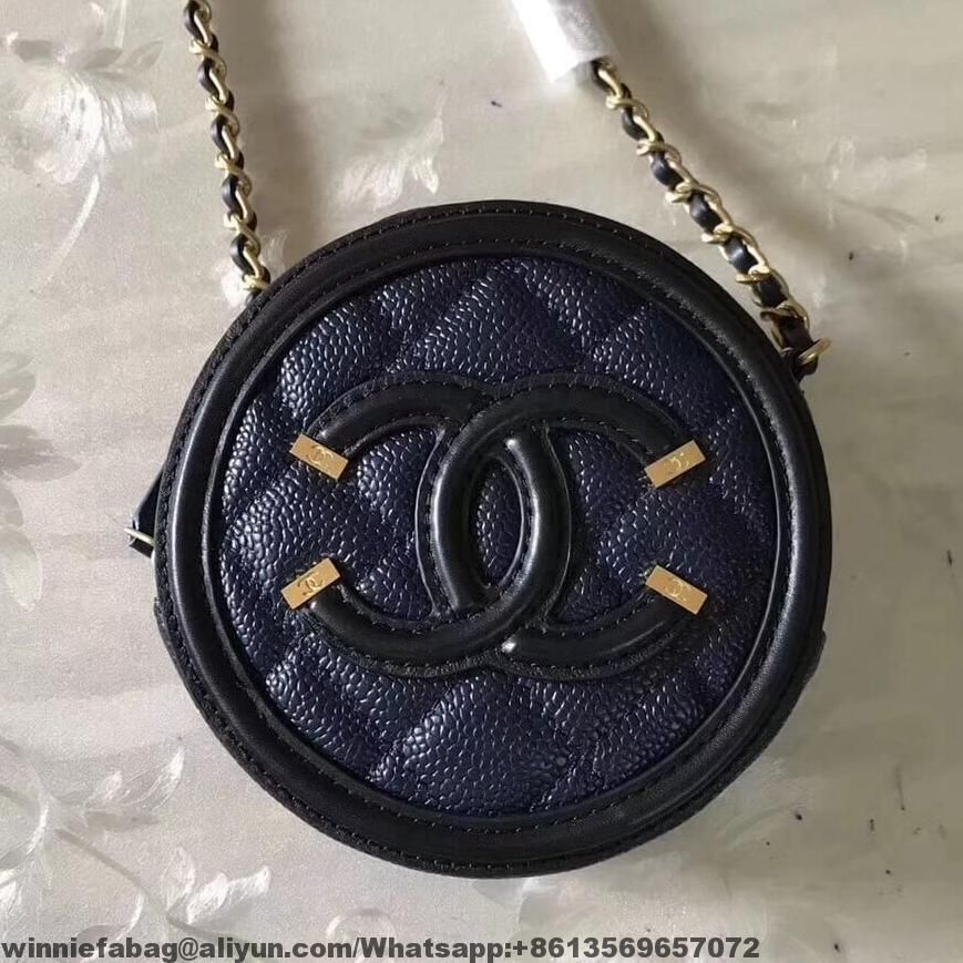 6dad2cfa0b95 Chanel Grained Calfskin   Gold-tone Metal Round Clutch with Chain A81599  2018