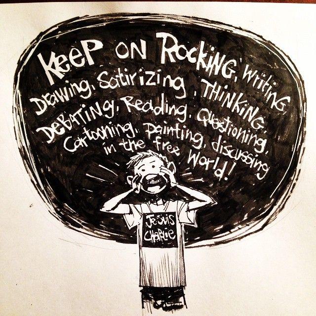 """@spacejunkees's photo: """"Keep on rockin in the free world. #jesuischarlie #freedomofspeech #satire #freedom"""""""