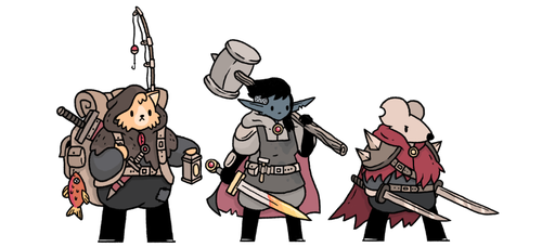 I'll just keep on posting these as long as i keep on doing them. From the left: a hunter, a blacksmith and a swordmaster.