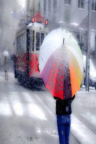 Winter Snow Raining Umbrella Mobile Wallpaper Umbrella Mobile Wallpaper Winter Snow