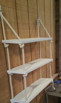 Details about 3 Tier Nautical Rope Shelf / Rope Shelf / Nautical Shelf / Nautical Nursery / Sw