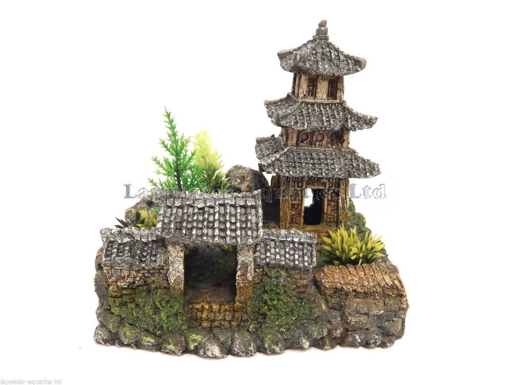 Classic magic of the orient asian temple with plants 185mm for Japanese fish decoration