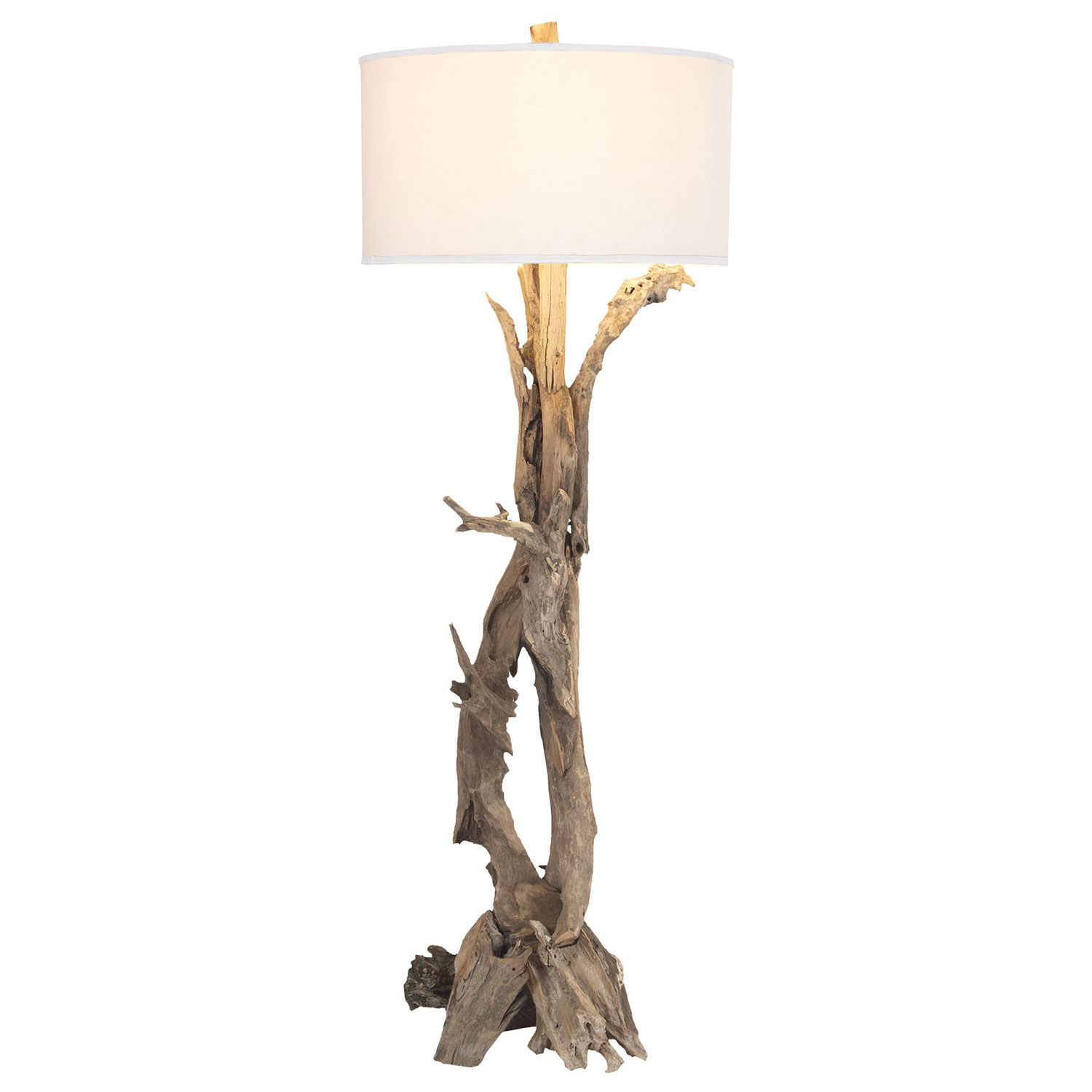 The Hounslow Heath Floor Lamp Presents A Contemporary Update To Nature Inspired Design Beneath Simple White Shade Twisted Teak Root Branches Offer