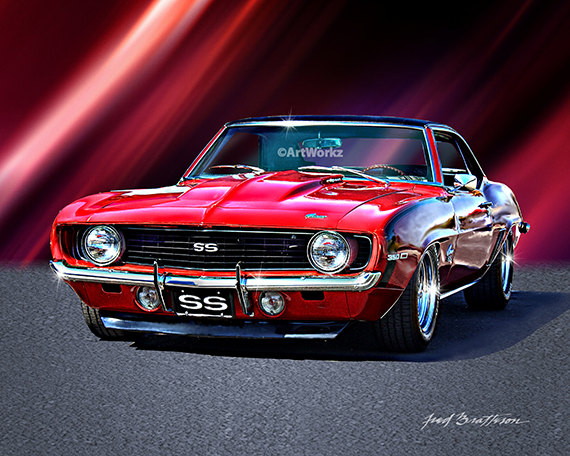 Muscle Car Print Camaro Ss Hot Rod Art X By Artworkz