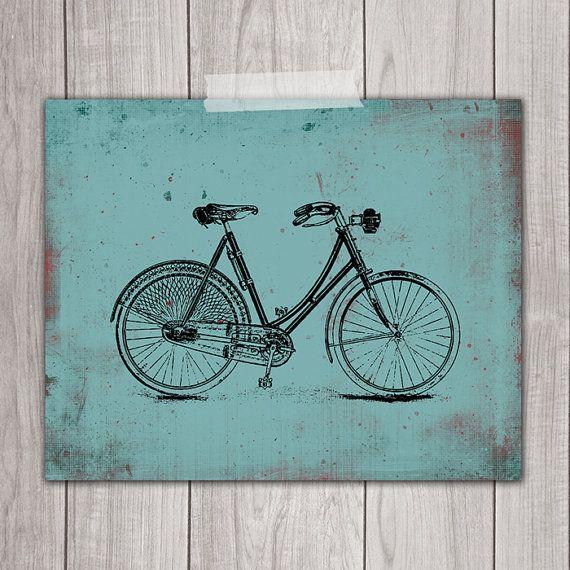 Bicycle Wall Art Printable 8x10 - Bike Print, Vintage Bicycle ...