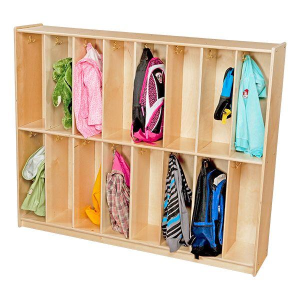 Sprogs Wooden 16 Section Locker Unit Wood Design Preschool Cubbies Lockers