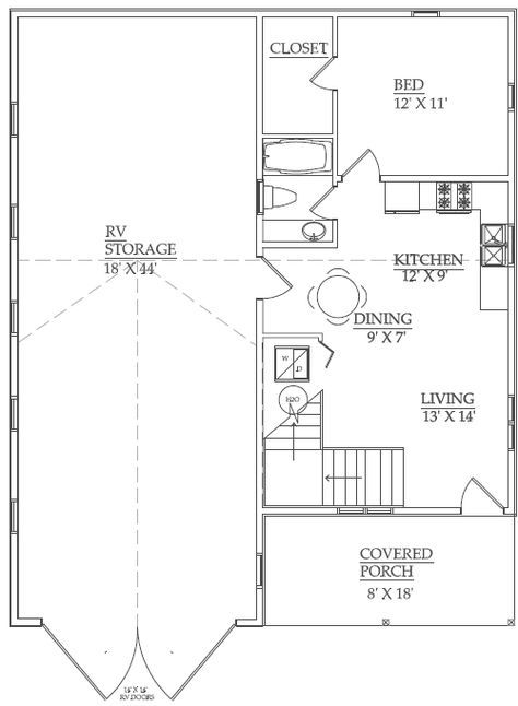 Rv Garage with One Bedroom Apartment plus 400 sq ft multipurpose ...