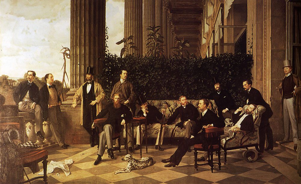 """""""A painting which portrays CharlesSwann""""  Charles Haas, far right, in the painting """"Le Cercle de la rue Royale"""" by Tissot. (http://bookaroundthecorner.wordpress.com/2012/12/11/a-painting-which-portrays-charles-swann/)"""