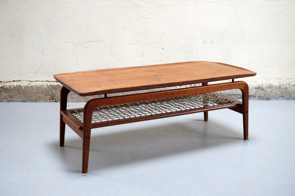 Table basse scandinave de salon danois teck design ann es 50 60 70 corde vintage danish mobler Table basse scandinave annee