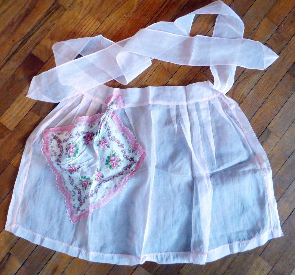 White half apron ebay - Vintage Hankie Apron Sheer Pink Half Style Handkerchief Pocket Floral