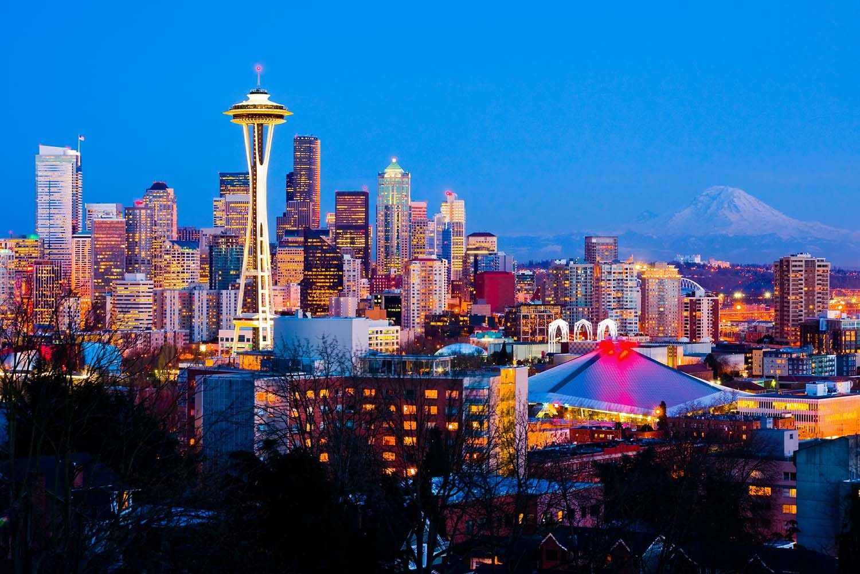 Seattle Washington Space Needle Skyline View At Night Vinyl Print