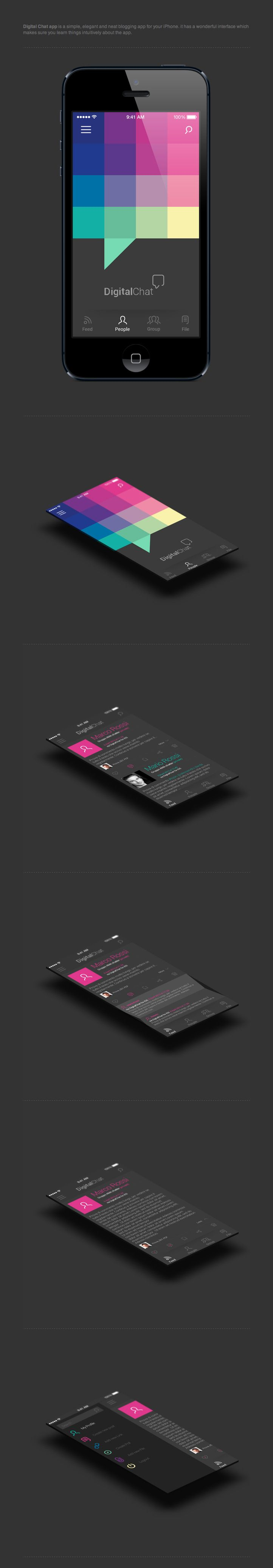 Digital Chat - #UI #UX #Interface #Mobile - http://www.behance.net/gallery/Digital-Chat/9383399