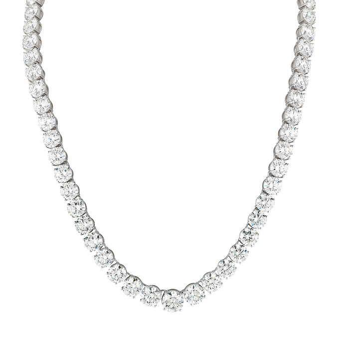 00142c374 Round Brilliant 78.19 ctw VS1/VS2 Clarity H/I Color Diamond 18kt White Gold  Necklace