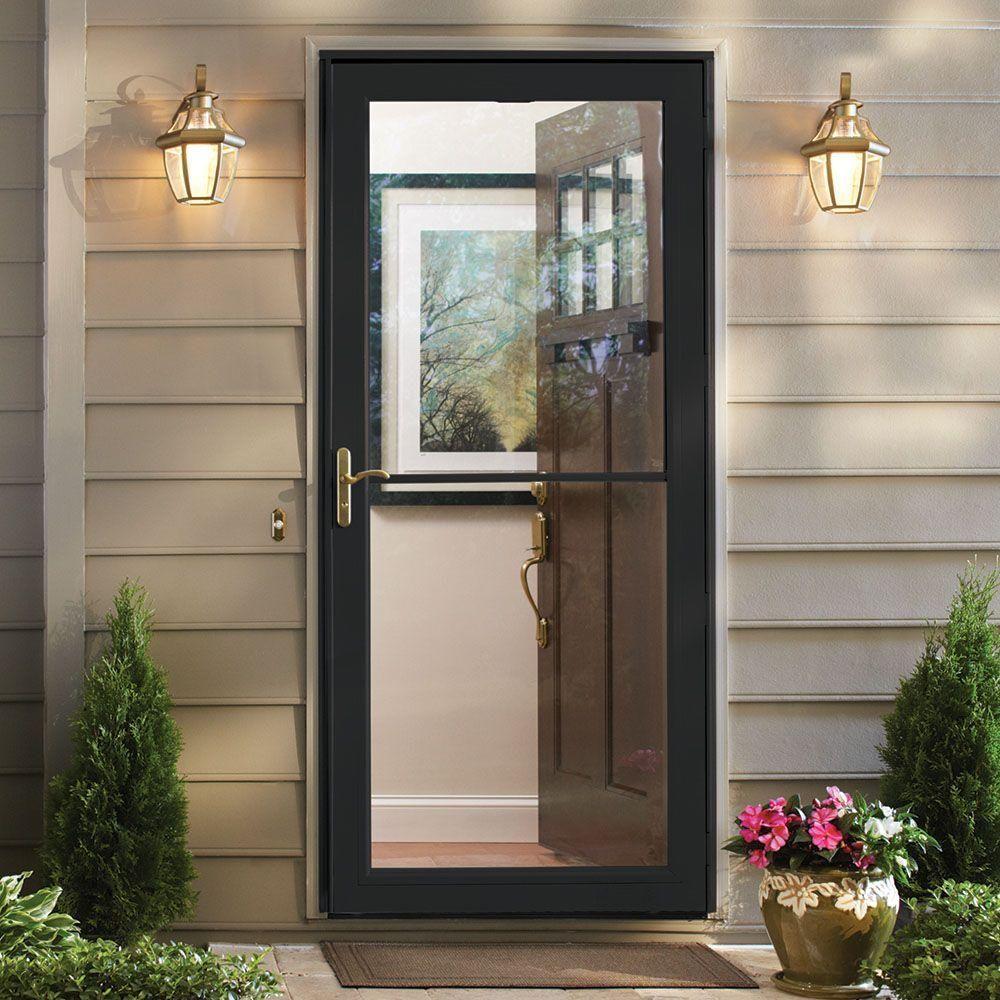 Andersen 36 In X 80 In 3000 Series Black Left Hand Self Storing Easy Install Aluminum Storm Door With Br Aluminum Storm Doors Brick Exterior House Storm Door