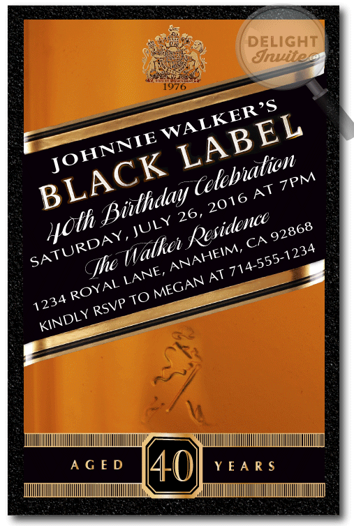 Johnnie Walker Over The Hill 40th Birthday Party Invitations