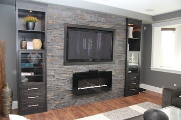 Tv On Stone Wall Design Ideas Pictures Remodel And Decor