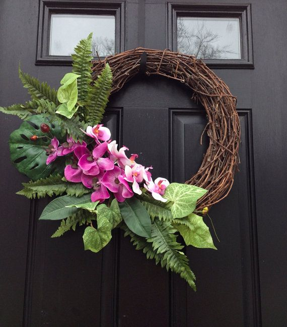 Summer wreath orchid wreath tropical wreath grapevine Christmas orchid arrangements