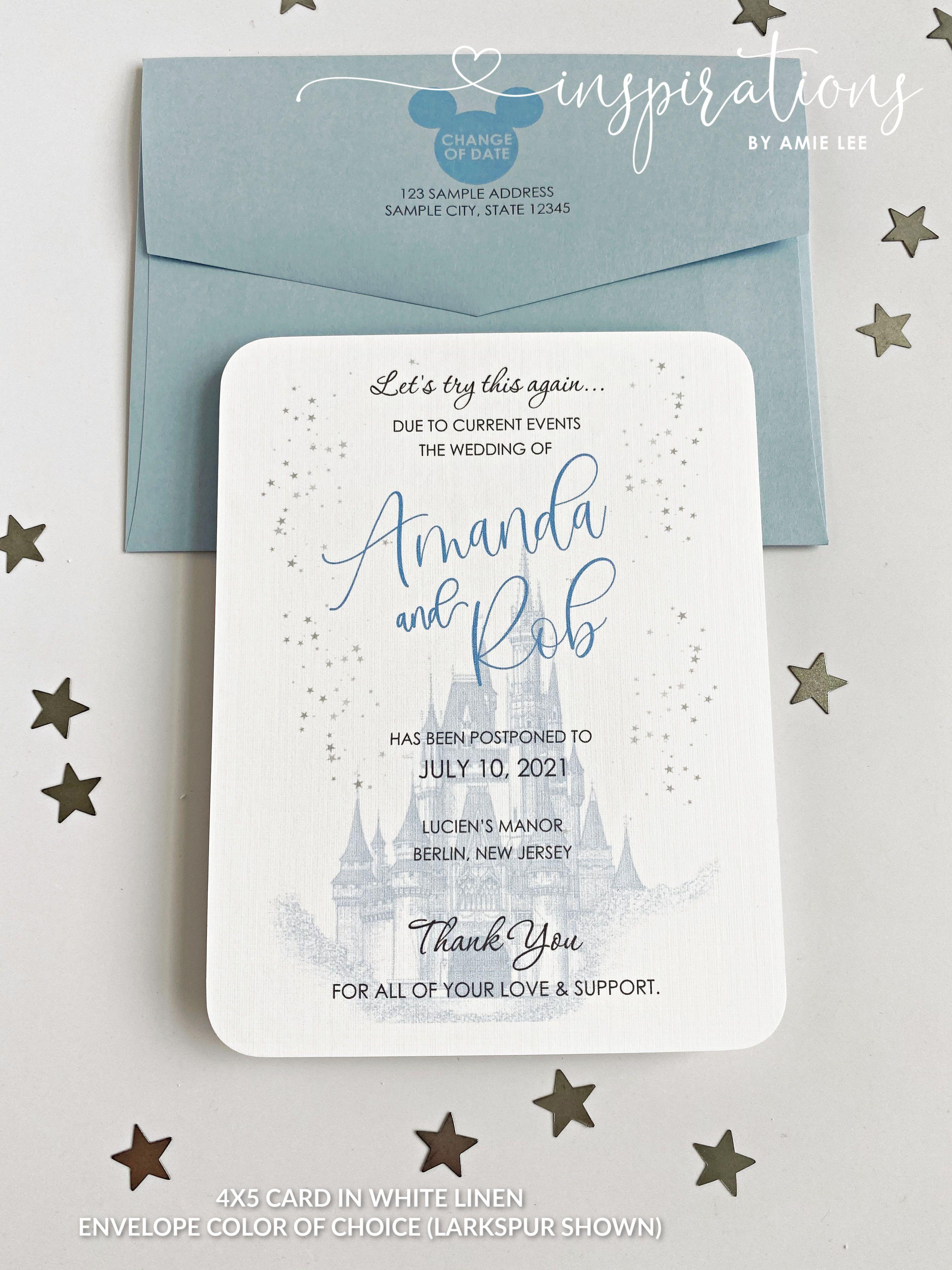 Change Of Date Disney Wedding Disney Change Of Date Fairy Etsy Cinderella Wedding Invitations Modern Wedding Invitation Wording Wedding Invitation Templates