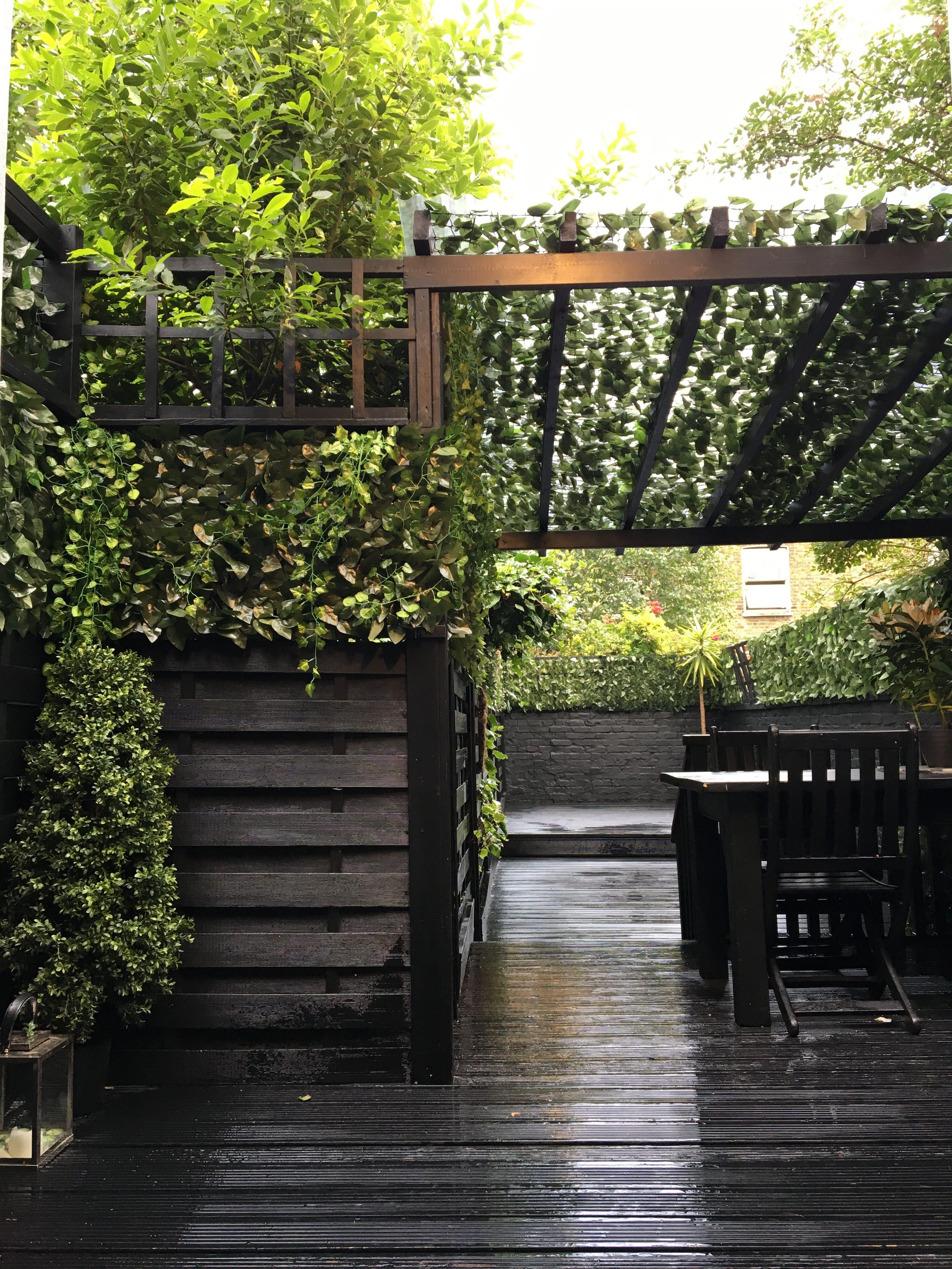Black Garden / Ivy / Pergola / Black Decking   Pergola, Covered ...