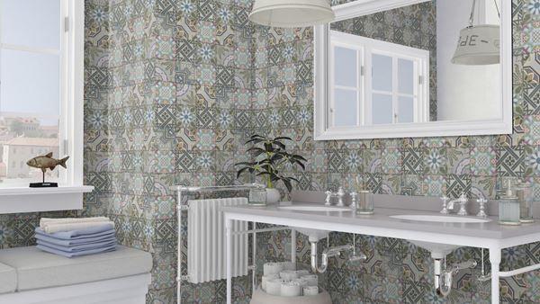 Behang In Badkamer : Behang oude tegeltjes multicolor in badkamer landelijk behang