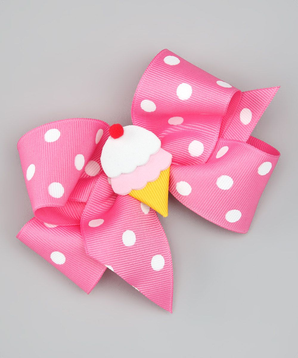 Look what I found on #zulily! Pink Ice Cream Polka Dot Bow Clip by Picture Perfect Hair Bows #zulilyfinds