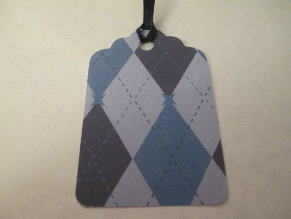 4 Blue Argyle Themed Handmade Gift Tags by jenuinecraftsandmore