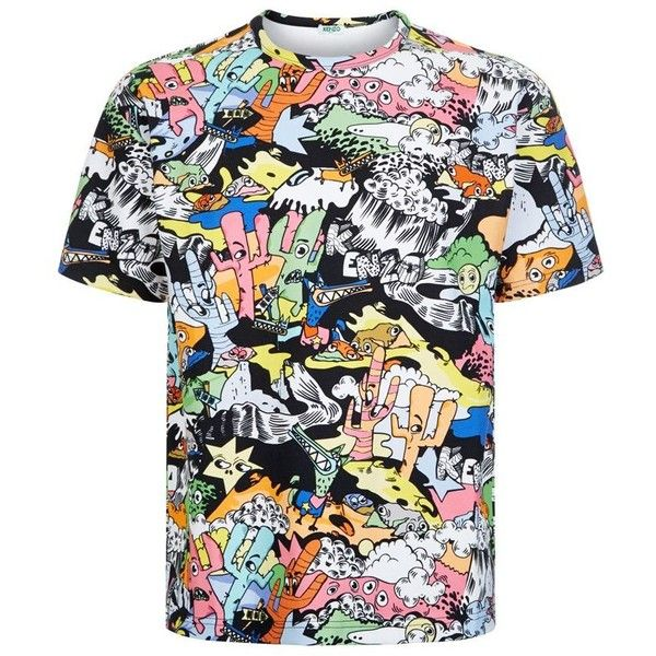 cc961925 Kenzo Cartoon T-Shirt (€220) ❤ liked on Polyvore featuring men's fashion,  men's clothing, men's shirts and men's t-shirts