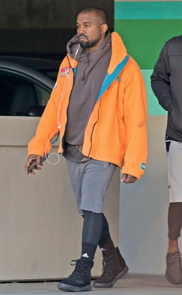 Kanye West Leaves Gym In Yeezy Hoodie T Shirt 750s The North Face Jacket Facts Nike Diss Song Yeezy Hoodie Kanye West Style Yeezy Shirt